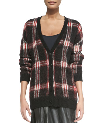 Long V-Neck Plaid Cardigan