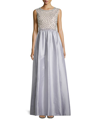 Beaded Bodice Taffeta Skirt Gown, Gray