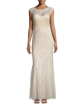 Beaded-Pattern Gown W/ Cap Sleeves