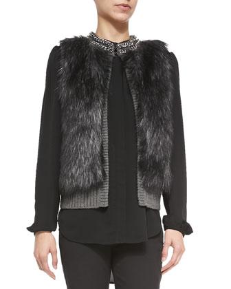 Chain-Neck Faux-Fur Vest