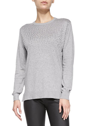 Long-Sleeve Top W/ Studded Front