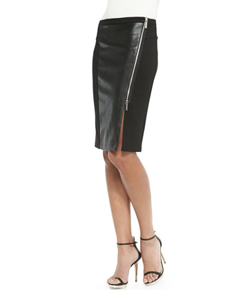 Faux-Leather Panel Zip Skirt