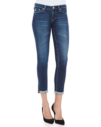 Stilt Rolled-Cuff Skinny Cropped Jeans, 6 Year Dive