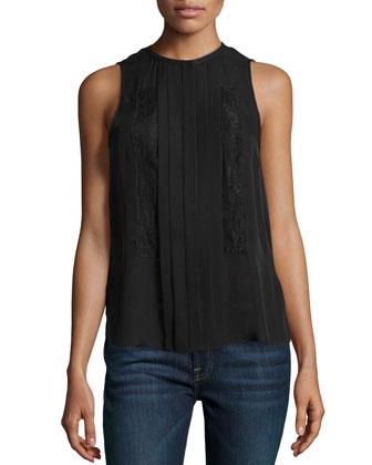 Tuxedo Silk Pleat-Front Blouse