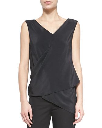 Vanessa Sleeveless Asymmetric Wrap Blouse