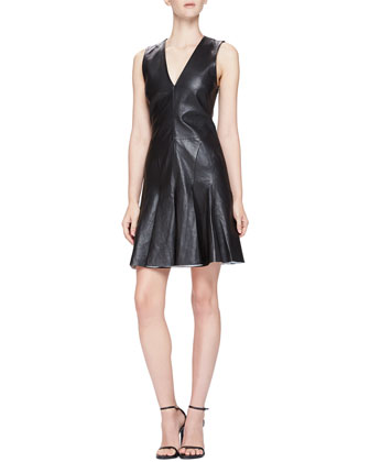 Fit & Flare Sleeveless Leather Dress
