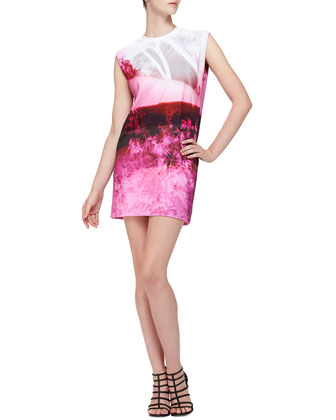 Abstract Tree-Print Sleeveless Dress