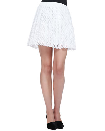 Open-Knit Patchwork Top & Pleated Dotted Eyelet Skirt