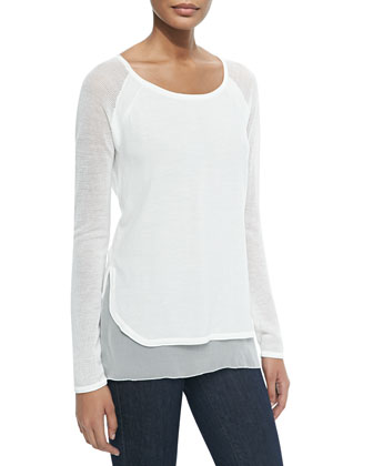 Tipper Sweater W/ Mesh Sleeves, Pearl
