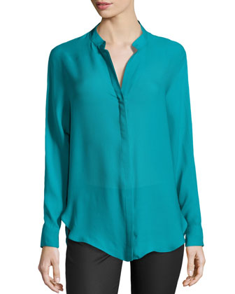 Long-Sleeve Button-Front Silk Blouse, Teal