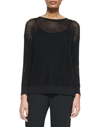 Long-Sleeve Mesh Sweater W/ Cami