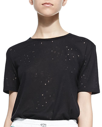 Short-Sleeve Distressed Holey Tee