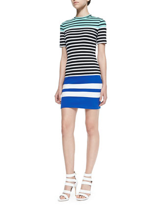 Multi-Stripe Fitted Knit Dress