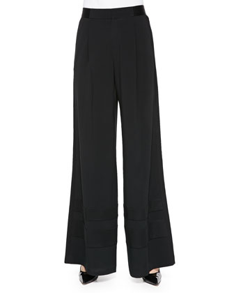 Palace Satin-Panel Wide-Leg Pants