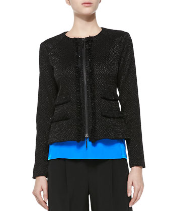 Rialto Tweed Jacket W/ Fringe Trim