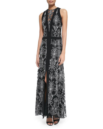 Byzantine Sleeveless Baroque-Print Dress