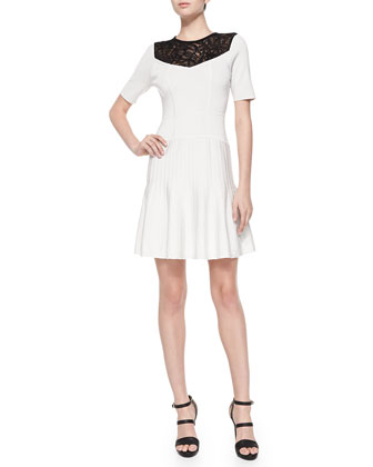 Murano Lace-Yoke Fit & Flare Dress