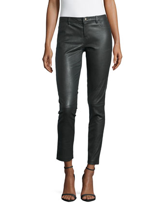 Lambskin Leather Pants, Emerald