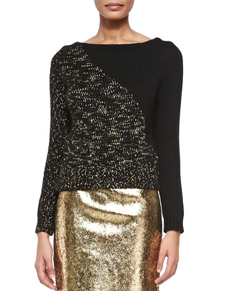 Diagonal Boat-Neck Pullover Sweater & Metallic Leather Pencil Skirt