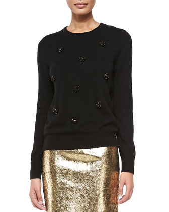Embellished-Front Crewneck Pullover & Metallic Leather Pencil Skirt