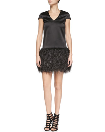 Lila Cap-Sleeve Dress W/ Ostrich Feather Skirt