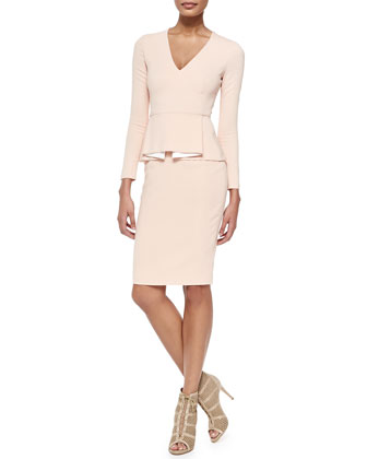 Francis Long-Sleeve Dress with Box-Pleated Peplum