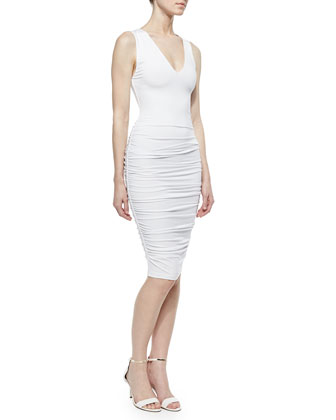 V-Neck Ruched Jersey Dress