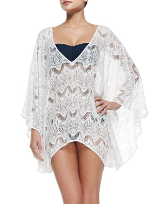 Violet Sheer Lace Arched Coverup