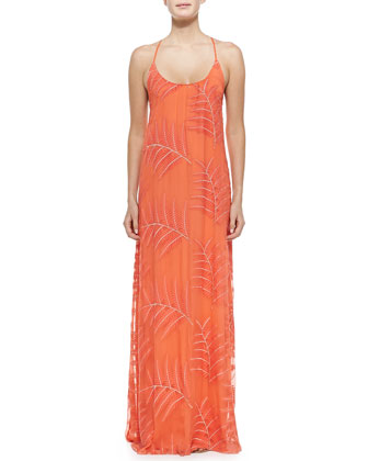 Kelly Palm-Print Chiffon Maxi Dress