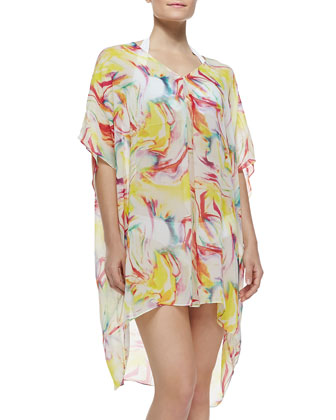 Dune Sheer Printed Silk Coverup