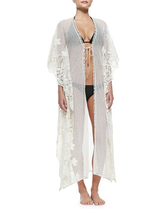 Edna Swiss-Dot/Lace Tie Coverup