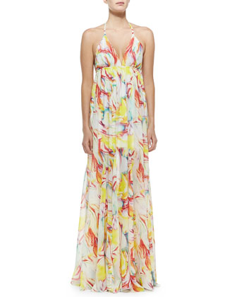 McBain Printed Silk Halter Dress