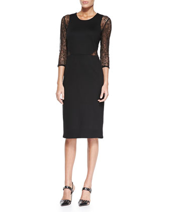 Crewneck Midi Dress W/ Lace Sleeves