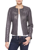 Leather Jacket with Trapunto Trim
