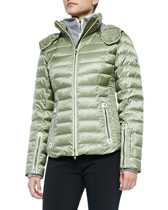 Kylie Two-Way-Zip Puffer Jacket with Removable Hood