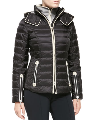 Kylie Two-Way-Zip Puffer Jacket with Removable Hood, Black