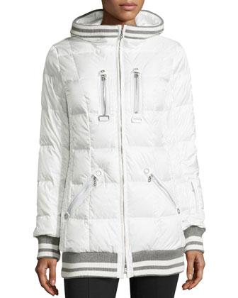 Muria Striped-Trim Hooded Puffer Jacket