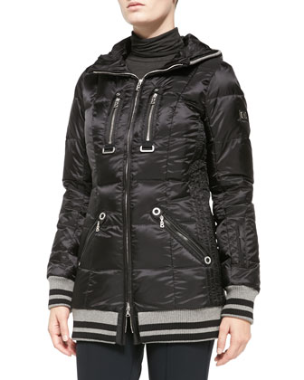 Muria Striped-Trim Puffer Jacket