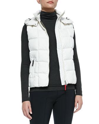Calie Hooded Puffer Vest, White