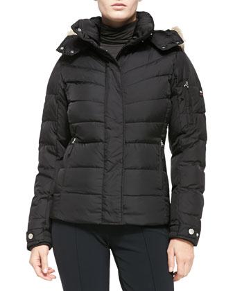 Sale Puffer Fur-Trim Hooded Jacket, Black