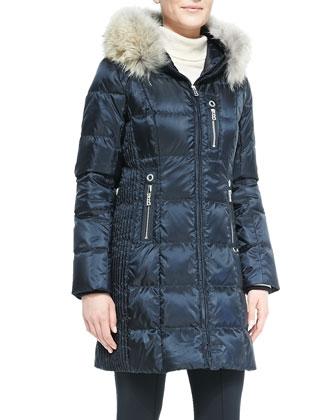 Ann Fur-Hood Puffer Jacket & Elaine Stirrup Sport Pants