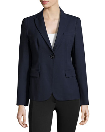 Single-Button Jacket with Notch Collar