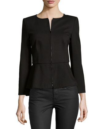 Zip-Front Jacket with Peplum