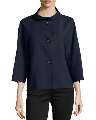 3-Button Cropped Swing Coat, Navy
