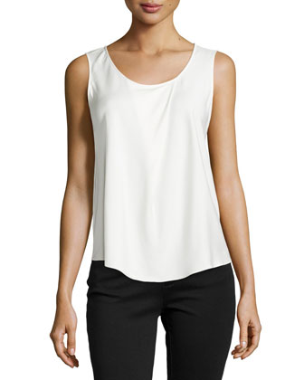 Sleeveless Front-Fold Silk Blouse