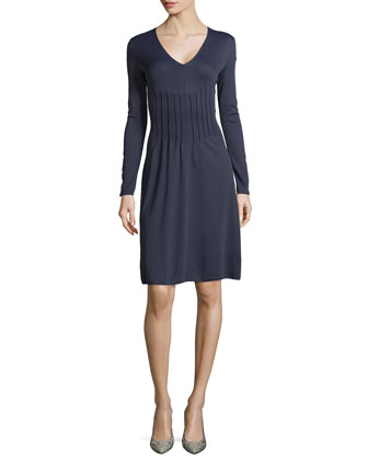 Long-Sleeve Seamed-Front Dress
