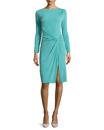 Gathered Boat-Neck Jersey Dress with Long Sleeves, Juniper