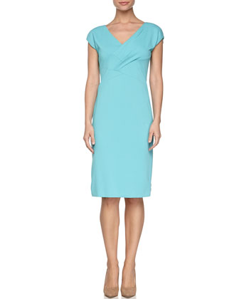 V-Neck Crisscross Sheath Dress, Juniper