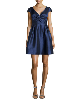 Honeycomb Doupioni Full-Skirt V-Neck Dress, Navy
