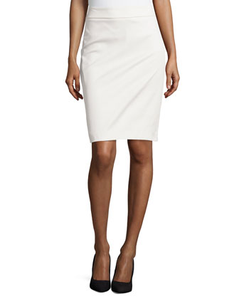 Wide-Waistband Sateen Pencil Skirt, Porcelain